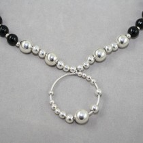 Designer necklace black agate and silver