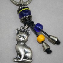 Pewter cat key ring