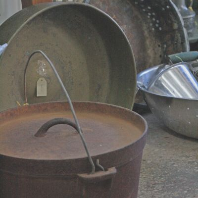 Old brass bucket