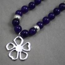 Amethyst beads flower necklace $66
