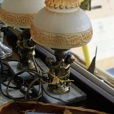 Lamps on marble base with brass figurines