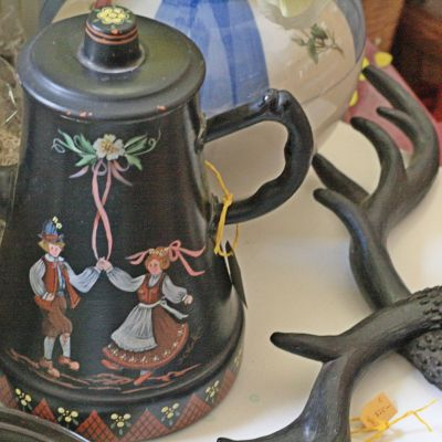 Painted coffee pot